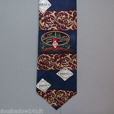 Tabasco GULF SHRIMP & PEPPER SAUCE LABEL Blue Burgundy Neck Tie made in USA #373