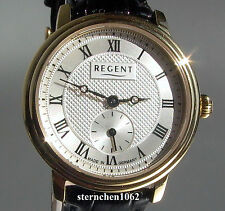 Regent * Ref. 12100589* Stahl vergoldet Leder *Damen-Armbanduhr* Made in Germany