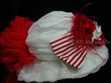 Victorian Edwardian Garden Party Vintage style hat white red free hatpin 1216