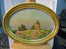 """Petit tableau ovale """"Paysage provençal"""" signé P. Besson"""