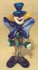"VINTAGE FIGURINES--COLORFUL CLOWN-8 1/2"" TALL--GLASS STATUE--NICE-GREAT PATINA"