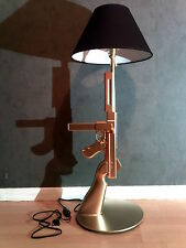 LAMPE DESIGN THOMPSON OR (chevet bureau table gun guerre militaire arme Starck)