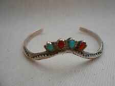 Southwest Stamped Sterling Silver Turquoise & Coral Cuff Bracelet 393410