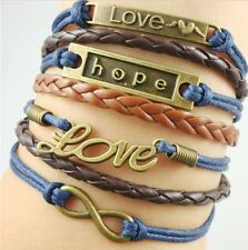 NEW Hot Infinity Love Anchor Leather Cute Charm Bracelet Bronze DIY SL209C