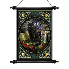 Celtic Witch's Black Cat Halloween Wall Hanging Scroll Tapestry Art NEW