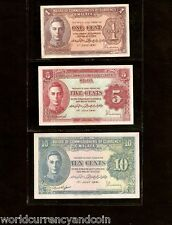 MALAYA MALAYSIA 1 5 10 CENTS P6 P7 P8 1941 KING GEORGE VI UNC CURRENCY MONET SET