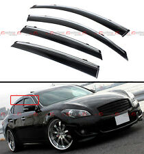 FOR 2011-15 INFINITI M37 M56 Q70 CLIP-ON TYPE SMOKE WINDOW VISOR W/ CHROME TRIM