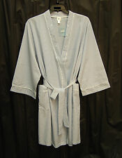 MISS ELAINE BLUE SEERSUCKER COTTON BLEND BELTED WRAP ROBE with POCKETS~1X