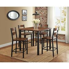 Small Kitchen Table and Chairs Counter Height Dining Set 5 Piece Wood Metal Bar