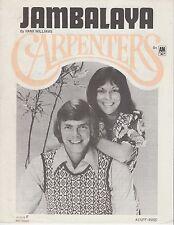 Jambalaya - Carpenters - 1973 Sheet Music