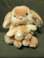 Goffa Plush Bunny Rabbit Mother & Baby 10 Inch stuffed animal fluffy tan / brown