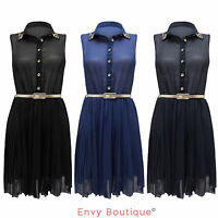 NEW LADIES WOMENS SPIKE STUDDED BELTED BUTTON CHIFFON PLEATED DRESS SIZES 8-14