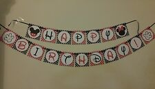 "Disney Mickey/Minnie Mouse 5"" x ""5 Cardstock 2 pieces Hanging Birthday Banner"
