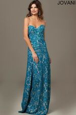 Jovani Peacock Strapless Sweetheart Bust Floral Lace Prom Dress Size 00 NWT