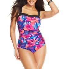 INC International Concepts One Piece Sz 22W Black Multi Ruched Swimsuit 470330W