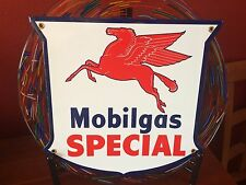 classic MOBIL GAS SPECIAL  heavy duty 18 gauge steel die-cut porcelain sign