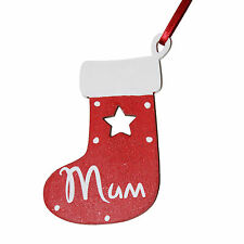 Small RED Personalised Wooden christmas stocking - Tree decoration - Gift Tag