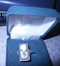 Antique 14k white gold & diamond ladies' size 6.5 cameo ring