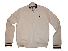 Polo Ralph Lauren L White Black Baseball Varsity Fleece Coat Jacket Large