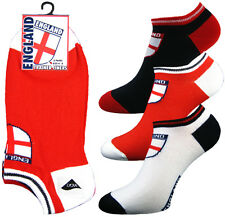 6 PAIRS OF MENS ENGLAND ST GEORGE TRAINER ANKLE SPORT SOCKS WITH UNION JACK