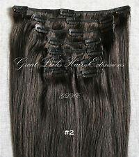 24'' CLIP IN ON REMY HUMAN HAIR EXTENSIONS  #2 Dark Brown 120g/9pcs/set