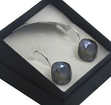 Silver Plated Earrings made with SWAROVSKI Crystals SHEENA * DARK GREY S* 12mm