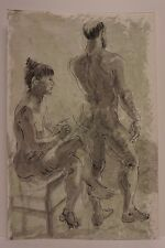 Lois Davis Male Female Nude Model Watercolor Listed Indiana Artist 21 x 14