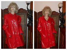 Vtg L Shiny Red PVC Vinyl Raincoat Trench Coat Rain Slicker Rain Jacket JG HOOK