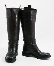 COSTUME NATIONAL Black Leather Military Style  Knee High Boots  Sz: 6.5 ( EU 37)