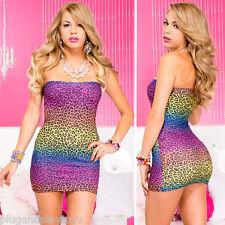 New Sexy Animal Leopard Print Rainbow Strapless Mini Tube Dress Bodycon Clubwear