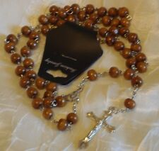 Men's/Woman (2) Brown Wooden Rosaries Beads with Silver Tone Chain Necklace -#56