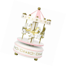 Peradix Carousel Music Box Wooden Merry-Go-Round Toy (Pink)