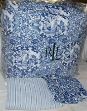 RALPH LAUREN Porcelain Blue Birds QUEEN COMFORTER SET NEW COTTON White