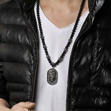 Biker Stainless Steel Large Dog Tag Lion Necklace Pendant Black Ball Chain 28''