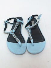 Balenciaga Sandal Giant Studded Arena Leather T-Strap Light Blue Size 38.5 $585