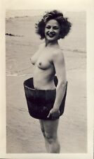 NAKED NUDE TOPLESS WOMAN WEARING A  BARREL WWII ERA Photo PINUP ART RISQUE