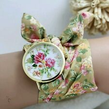 New design Geneva Ladies flower cloth WATCH , UNUSUAL DESIGN AND FANCY COLOURS