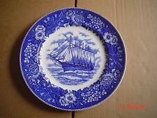 Adams Potteries England Blue And White 10 Inch Plate Ship WYOMING
