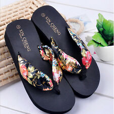 Summer Bohemia Floral Beach Sandals Wedge Platform Thongs Slippers Flip Flops 1