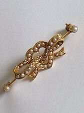 Beautiful Fine Quality Victorian 15ct Gold Seed Pearl Tied Ribbon Heart Brooch