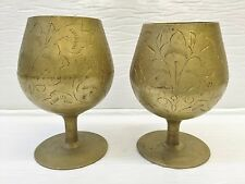 Pair of Etched Brass Cordial Cups Stemware India