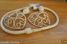 SHABBY CHIC VINTAGE CREAM HEART CURTAIN TIE BACK CURTAIN HOLD BACK WITH FIXINGS
