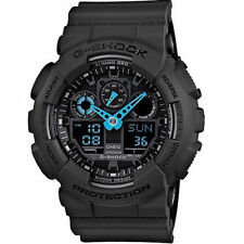Casio Men's G-Shock X-Large Analog-Digital Neon Hilights Gray/Aqua #GA100C-8A