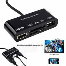 5in1 Micro USB MHL to HDMI HDTV Adapter + USB OTG Card Reader Connection Kit