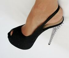 BNIB Always Black Satin High Platform Silver Spike Stiletto Evening Shoes Sz 6.5