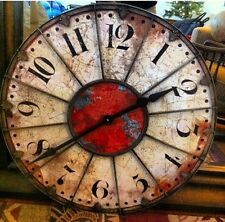 "Roulette Wall Clock Red Ivory 29"" Round Distressed Shabby French Parisian Chic"