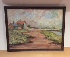 Vintage Mixed Media Chalk / Pastel Painting Landscape House Sea Beach Framed