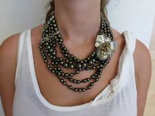 NWT Alexis Bittar Black-brown Pearls & Swarovski crystals. Draped Necklace
