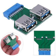 Motherboard 19 PIN Header Connector to 2 USB3.0 Port Female Adapter USB 3.0 Hub