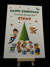 Personalised Handmade Paw Patrol Christmas Card -Son, Grandson, Granddaughter